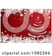 Clipart Red Christmas Tree Background With Snowflakes Royalty Free Vector Illustration