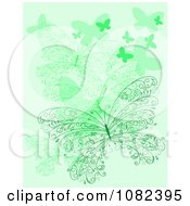Clipart Ornate Green Butterfly Background Royalty Free Vector Illustration
