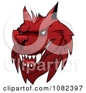 Clipart Red Mean Wolf Royalty Free Vector Illustration