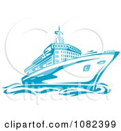 Clipart Blue Cruise Ship Royalty Free Vector Illustration by Vector Tradition SM