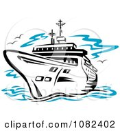 Clipart Black Cruise Ship Royalty Free Vector Illustration by Vector Tradition SM