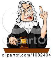 Clipart Judge Holding Up A Gavel And Finger Royalty Free Vector Illustration