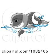 Clipart Cute Gray Dolphin Swimming Through Waves Royalty Free Vector Illustration by Vector Tradition SM