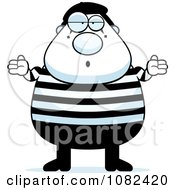 Clipart Chubby Mime Shrugging Royalty Free Vector Illustration