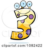 Clipart Three Eyed Number Three Character Royalty Free Vector Illustration
