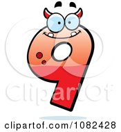 Clipart Number Nine Devil Character Royalty Free Vector Illustration by Cory Thoman