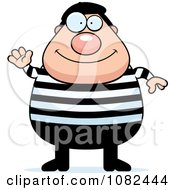 Clipart Chubby French Man Waving Royalty Free Vector Illustration by Cory Thoman