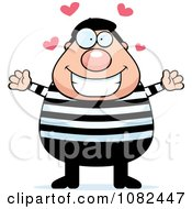 Clipart Chubby French Man With Hearts Royalty Free Vector Illustration by Cory Thoman