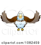 Clipart Buff Bald Eagle Flying Royalty Free Vector Illustration