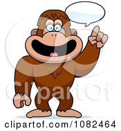 Clipart Smart Bigfoot Talking Royalty Free Vector Illustration by Cory Thoman