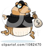 Clipart Hamster Robbing A Bank Royalty Free Vector Illustration