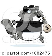 Clipart Raccoon Robbing A Bank Royalty Free Vector Illustration