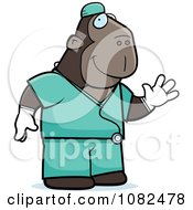 Clipart Ape Surgeon Doctor In Scrubs Royalty Free Vector Illustration
