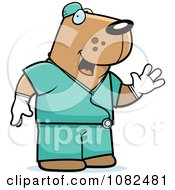 Clipart Dog Surgeon Doctor In Scrubs Royalty Free Vector Illustration