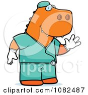 Clipart T Rex Surgeon Doctor In Scrubs Royalty Free Vector Illustration