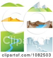 Clipart Six Weather And Landscape Scenes Royalty Free Vector Illustration