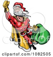 Clipart Super Santa Flying Royalty Free Vector Illustration