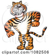 Clipart Strong Bully Tiger Grinning Royalty Free Vector Illustration
