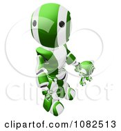 3d Green Ao Maru Robot Holding Hands With A Web Cam