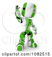 Clipart 3d Green Ao Maru Robot Waving Royalty Free CGI Illustration