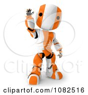 Clipart 3d Orange Ao Maru Robot Waving Royalty Free CGI Illustration