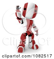 Clipart 3d Red Ao Maru Robot Waving Royalty Free CGI Illustration