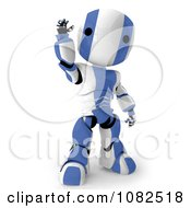 Clipart 3d Blue Ao Maru Robot Waving Royalty Free CGI Illustration