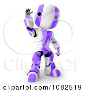 Clipart 3d Purple Ao Maru Robot Waving Royalty Free CGI Illustration