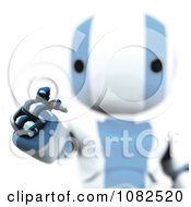 Clipart 3d Blue Ao Maru Robot Using An Interface Royalty Free CGI Illustration by Leo Blanchette