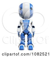 Clipart 3d Blue Ao Maru Robot Standing Tall Royalty Free CGI Illustration by Leo Blanchette