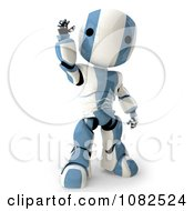 Clipart 3d Light Blue Ao Maru Robot Waving Royalty Free CGI Illustration
