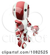 3d Red Ao Maru Robot Holding Hands With A Web Cam