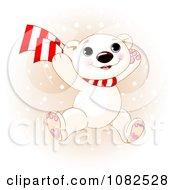 Clipart Cute Polar Bear Cub Jumping In Winter Snow Royalty Free Vector Illustration