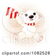 Poster, Art Print Of Cute Polar Bear Cub Jumping In Winter Snow