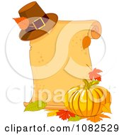 Clipart Pilgrim Hat Fall Leaves And Pumpkin By A Thanksgiving Scroll Royalty Free Vector Illustration