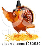Clipart Thanksgiving Turkey Bird Pointing Royalty Free Vector Illustration