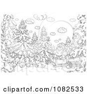 Clipart Outlined Santa With An Owl Dog And Sled In The Woods Royalty Free Illustration