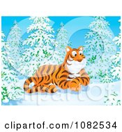 Clipart Tiger Resting In A Winter Forest Royalty Free Illustration by Alex Bannykh