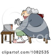 Clipart Cold Woman Wearing Bunny Slippers And Muffs By A Space Heater Royalty Free Vector Illustration by Dennis Cox