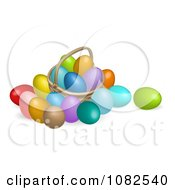 Clipart 3d Dyed Easter Eggs And A Basket Royalty Free Vector Illustration