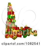 Clipart 3d Stacked Holiday Gifts Royalty Free Vector Illustration