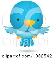 Clipart Happy Blue Bird Flying Royalty Free Vector Illustration by Qiun