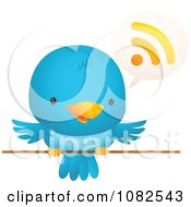 Clipart Blue Bird Talking Royalty Free Vector Illustration by Qiun