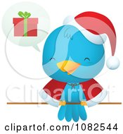 Clipart Christmas Blue Bird Talking About Gifts Royalty Free Vector Illustration by Qiun