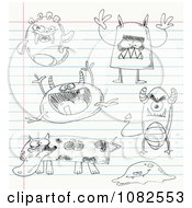 Clipart Sketched Monster Doodles On School Paper Royalty Free Vector Illustration by yayayoyo