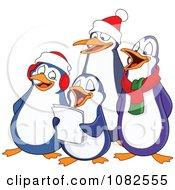 Clipart Penguins Singing Christmas Carols Royalty Free Vector Illustration by yayayoyo #COLLC1082555-0157