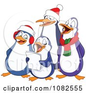 Clipart Penguins Singing Christmas Carols Royalty Free Vector Illustration by yayayoyo