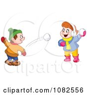 Clipart Boy And Girl Having A Snowball Fight Royalty Free Vector Illustration