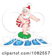 Santa Surfing On A Wave