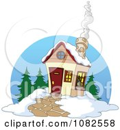 Clipart Winter Cabin With Smoke Rising From The Chimney Royalty Free Vector Illustration
